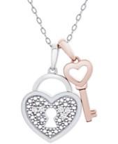 94dbf728ebf Diamond Accent Heart Lock   Key 18