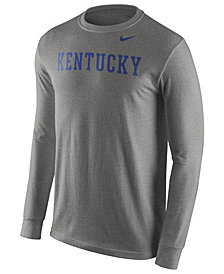 Nike Men's Kentucky Wildcats Cotton Wordmark Long Sleeve T-Shirt
