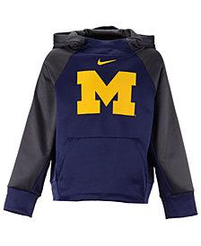 Nike Michigan Wolverines Therma Color Block Hoodie, Big Boys (8-20)