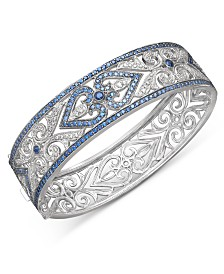 Sterling Silver Bracelet, Sapphire (3-3/4 ct. t.w.) and Diamond (1/4 ct. t.w.) Heart Bangle (Also Available in Emerald and Ruby)