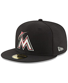 New Era Miami Marlins Black Red Out 59FIFTY Fitted Cap