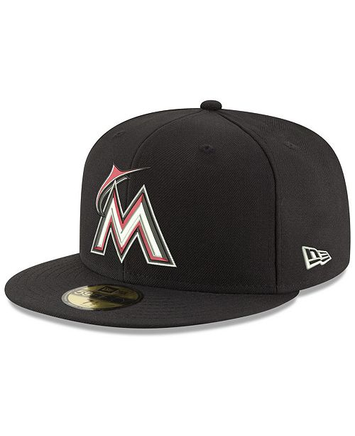 release date a3c51 a2b45 ... New Era Miami Marlins Black Red Out 59FIFTY Fitted Cap ...