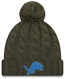 New Era Women's Detroit Lions Salute To Service Pom Knit Hat