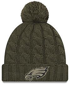 New Era Women's Philadelphia Eagles Salute To Service Pom Knit Hat
