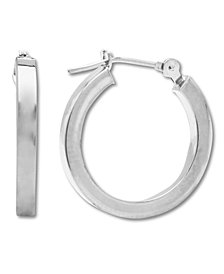 Polished Hoop Earrings in 14k White Gold