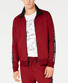 GUESS Men's Logo Tape Track Jacket