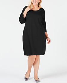 Karen Scott Plus Size Cotton Scoop-Neck Dress, Created for Macy's
