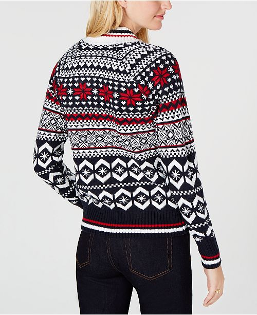 Tommy Hilfiger Fair Isle Zip Up Sweater Created For Macys