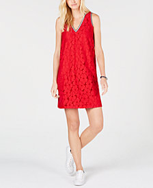 Tommy Hilfiger Floral-Lace Sleeveless Dress, Created for Macy's