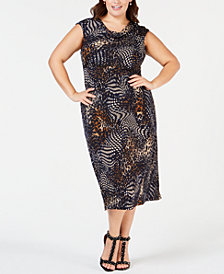 Connected Plus Size Animal-Print Midi Dress