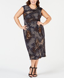 2c5b8085da2 Connected Plus Size Animal-Print Midi Dress