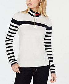 Tommy Hilfiger Cotton Striped Mock-Turtleneck Top, Created for Macy's