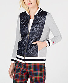 Tommy Hilfiger Quilted-Front Knit Bomber Jacket, Created for Macy's