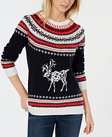 Tommy Hilfiger Reindeer Fair Isle Sweater, Created for Macy's