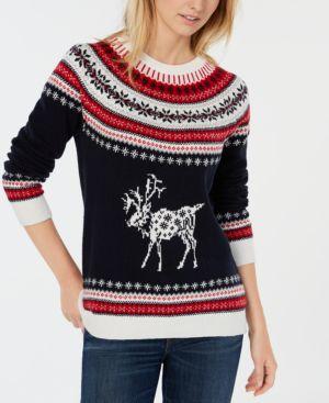 Reindeer Fair Isle Sweater, Created For Macy'S in Sky Captain Multi