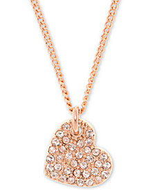 "DKNY Pavé Heart Pendant Necklace, 16"" + 3"" extender"