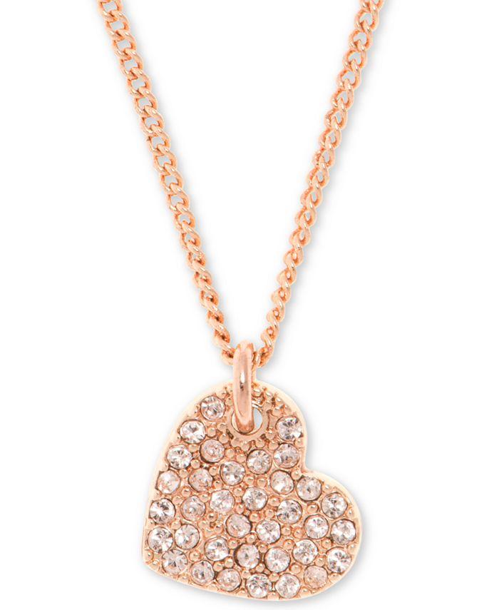 "DKNY - Pavé Heart Pendant Necklace, 16"" + 3"" extender"