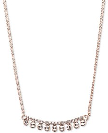 "DKNY Rose Gold-Tone Crystal 16"" Collar Necklace, Created for Macy's"