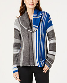 Style & Co Cowl-Neck Multi-Stripe Sweater, Created for Macy's