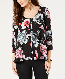 Style & Co Printed 3/4-Sleeve Shirt, Created for Macy's
