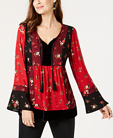 Style & Co Petite Velvet-Trim Peasant Top, Created for Macy's
