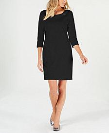 Karen Scott Cotton Ring-Detail Sheath Dress, Created for Macy's