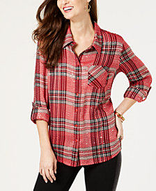Style & Co Petite Sequined Plaid Shirt, Created for Macy's