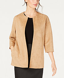 Anne Klein Faux-Suede Topper Jacket