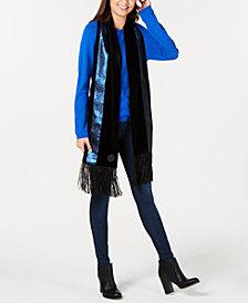 DKNY Velvet Sequined Stripe Fringe Scarf, Created for Macy's