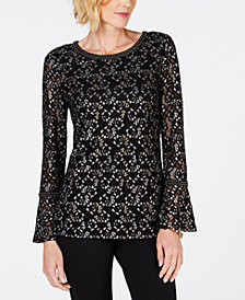 JM Collection Metallic Lace Bell-Sleeve Top, Created for Macy's