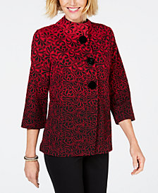 JM Collection Ombré Mandarin-Collar Jacket, Created for Macy's