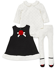 Little Me Baby Girls 3-Pc. Faux-Fur-Trimmed Dress, Dot-Print Bodysuit & Footed Tights Set