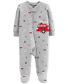 Carter's Baby Boys Firetruck Cotton Coverall