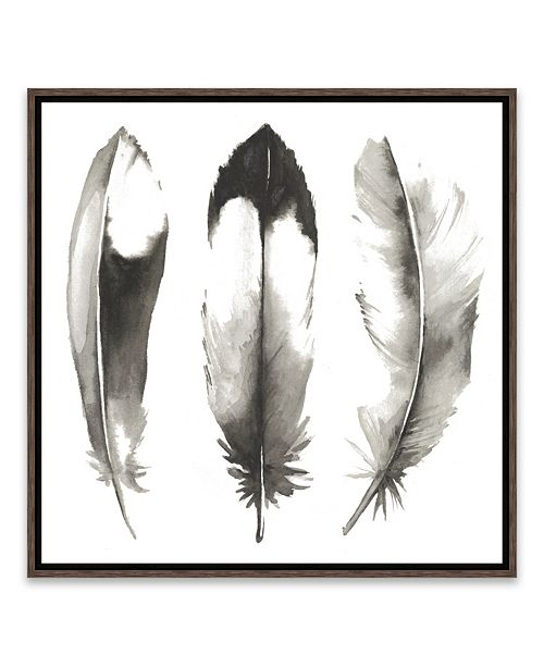 Artissimo Designs Watercolor Feathers II Framed Printed Canvas