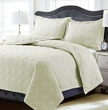 Lyon Microfiber Solid Oversized Queen Quilt Set