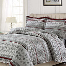 Snowmitten Cotton Flannel Printed Oversized Queen Quilt Set