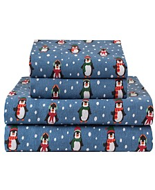Winter Nights Cotton Flannel Queen Print Sheet Set
