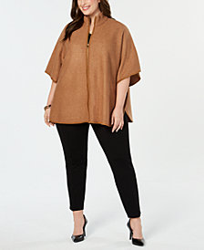 Anne Klein Plus Size Zip-Front Cape Jacket