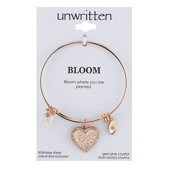 Unwritten Heart & Crystal Charm Bangle Bracelet in Rose Gold-Tone Stainless Steel