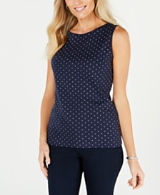 Karen Scott Dotted Boat-Neck Shell, Created for Macy's