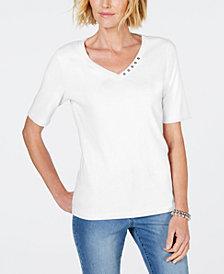 Karen Scott Cotton V-Neck T-Shirt, Created for Macy's