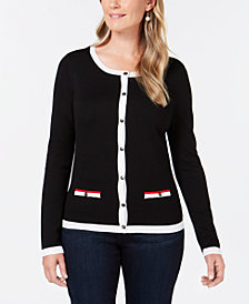 Karen Scott Petite Contrast-Trim Cardigan, Created for Macy's