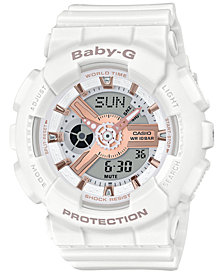 Baby-G Women's Analog-Digital White Resin Strap Watch 43.4mm