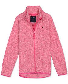 Nautica Little Girls Heathered Polar Fleece Sweater