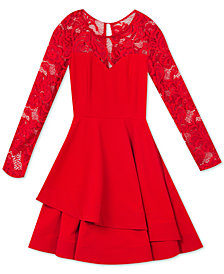 Rare Editions Big Girls Lace-Sleeve Crepe Dress