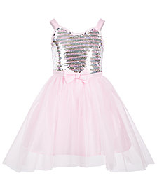 Pink & Violet Little Girls Sequin-Bodice Dress