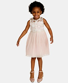 Little Girls Embroidered Pleated Dress