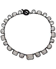 "DKNY Black-Tone Crystal 17"" Collar Necklace"
