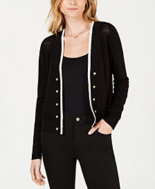 Maison Jules Open-Knit Button-Detail Cardigan, Created for Macy's