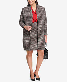 Calvin Klein Plus Size Tweed Blazer, Ruffled Blouse & Pencil Skirt